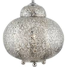 moroccan single light rounded shiny nickel table lamp with clear decorations