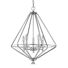 fifth and main lighting marin 5 light polished chrome pendant with crystal accents