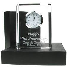 60th wedding anniversary gift engraved 60th wedding anniversary crystal clock 60th wedding anniversary gifts diamond wedding anniversary gifts