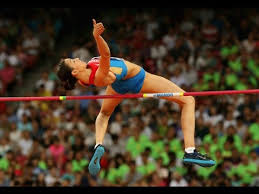 The high jump is a track and field event in which competitors must jump unaided over a horizontal bar placed at measured heights without dislodging it. 2015 Beijing World Championship High Jump Women Youtube