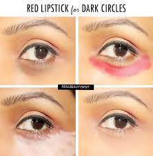 how to cover dark circles with a red lipstick
