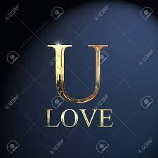 Gold alphabet letter U word love on a ...