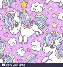 Seamless pattern with cute unicorns ...