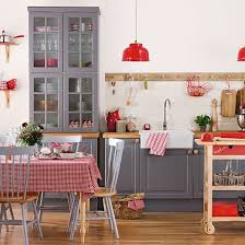 Grey and red Shaker style kitchen | Kitchen decorating | Ideal Home |  Housetohome.co