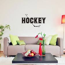 bibitime sport fans wall decal hockey sayings sticker art mural home decor e for player bedroom living room background 32 59 x 17 51 b071l2f1gn