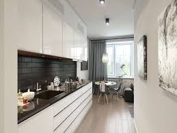Kitchen:Narrow Modern Apartment Kitchen Design With White Gloss Kitchen  Cabinet Also Black Ceramic Backsplash