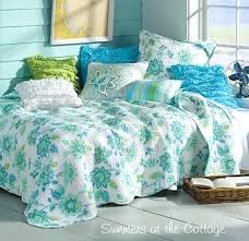 elegant seaside bedding endless summer seaside cottage aqua sea glass blue flowers beach quilt set with beach duvet covers