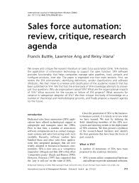 Sample Research Agenda Sales Force Automation Review Critique PDF Download Available 9
