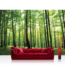 Vlies Fototapete Wald Tapete Bäume Wald Sonne Wiese Grün Lifestyle