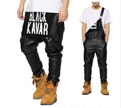 high quality leather jogger pants overalls new arrival fashion man women mens hiphop hip hop swag black leather overalls pants jogger urban clothes clothing