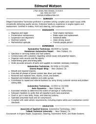 Auto Mechanic Resume Templates Free Resume Templates