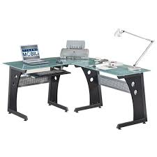 office desk l. amazoncom techni mobili deluxe tempered frosted glass l shaped corner desk with pull out keyboard graphite kitchen u0026 dining office
