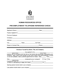Pre Employment Telephone Reference Check Form Fill Online
