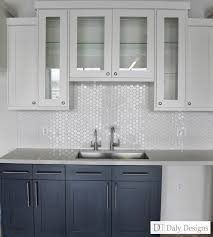 No Window Over Kitchen Sink Navy Blue Ink Lowers White Uppers Client Office Break Room