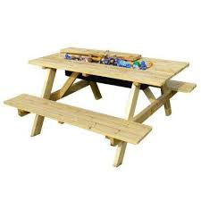 natural wood picnic table with built in cooler