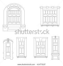 vintage window drawing. vector set of vintage windows. window drawing d