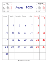 Printable 2020 Calendar August Vertical Layout