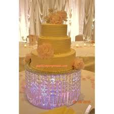 crystal cake stand wedding with crystals chandelier