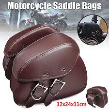 pair brown pu leather motorcycle tool bag luggage saddle bags for harley