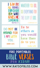 Click on bible coloring pictures below for the printable bible coloring page. Kids Bible Verses Free Printables Set Of 4 Rays Of Bliss