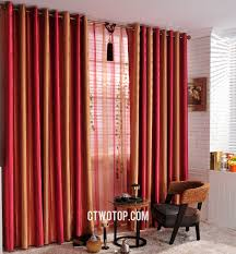 Maroon Curtains For Living Room And Orange Striped Custom Cheap Blackout Long Curtains