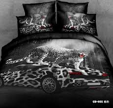 3d black and white leopard print bedding set super king queen size quilt duvet cover bed in a bag fitted sheets race cars 6pcs