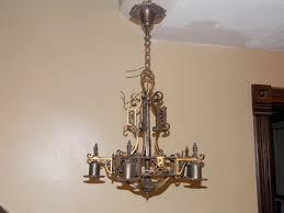 antique spanish revival chandelier 1920 s vintage cast brass bronze steampunk