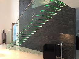 self supporting glass and stainless steel open staircase with lateral stringers all glass staircase with led
