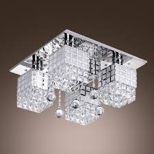functional and beautiful 4 light crystal beads and square flush mount