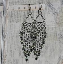 long chandelier earrings with grey crystal hematite and metal bohemian earrings