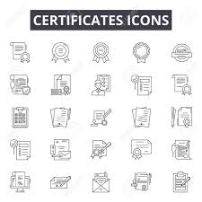 Certificate Outline Certificates Line Icons Signs Set Vector Certificates Outline