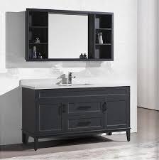 60inch modern free standing single sink solid wood bathroom vanity with countertop