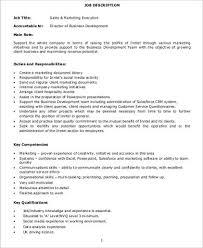Sales Executive Job Description Marketing Executive Job Description Sample 9 Examples In Word Pdf