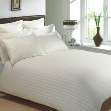 cream colour 250 thread count cotton luxury hotel stripe bedding bedlinen range