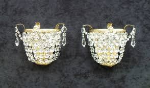 pair of italian art deco crystal glass basket wall lights