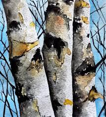 original watercolor painting birch tree landscape