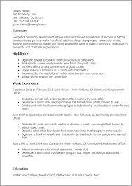 Resume Templates: Community Development Officer