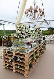 wooden pallet wedding dessert bar ...