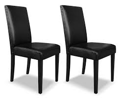 black faux leather accent dining chair  the brick