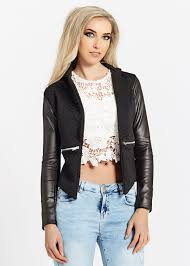 natalie black quilted faux leather blazer jacket