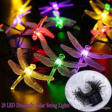 20 led solar string fairy lights dragonfly multi color outdoor garden lighting fairy lights with 8 75 piece on euroleague s dhgate com