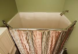image of square shower curtain rod for corner shower