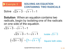 solving an equation containing two radicals