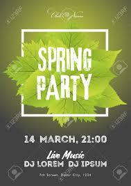 Green Party Flyer Spring Night Club Party Flyer Invitation Vector Illustration