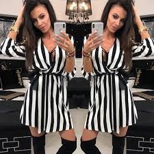 <b>Sexy Women V-Neck Striped</b> dress Fashion Summer Black White ...