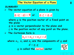 the vector equation of a plane the vector equation of a plane is given by