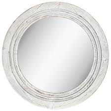 white distressed round wooden wall