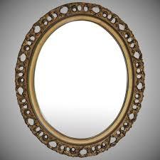 antique italian gilt wood floine oval mirror