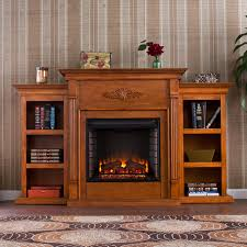 southern enterprises tennyson 70 inch electric fireplace w bookcases glazed pine fe8543