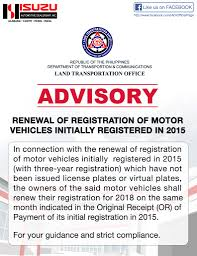 to our valued customers please be advised on the renewal of registration for 2018 of motor vehicles